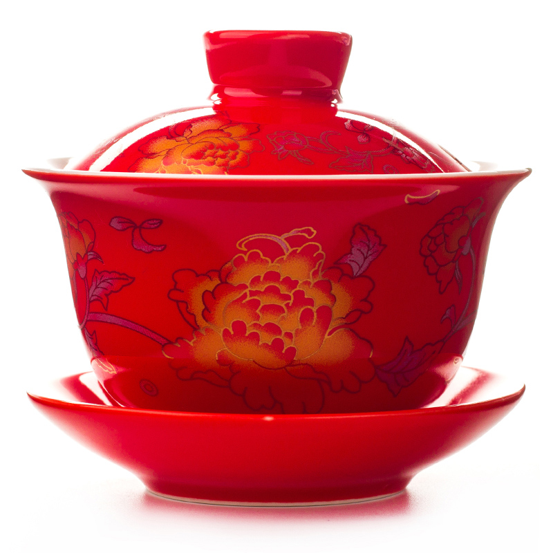 80ML Wedding porcelain tea sets Tea bowl Tureen Sancai Bowl Kung Fu Teaset GaiWan Teacup ...