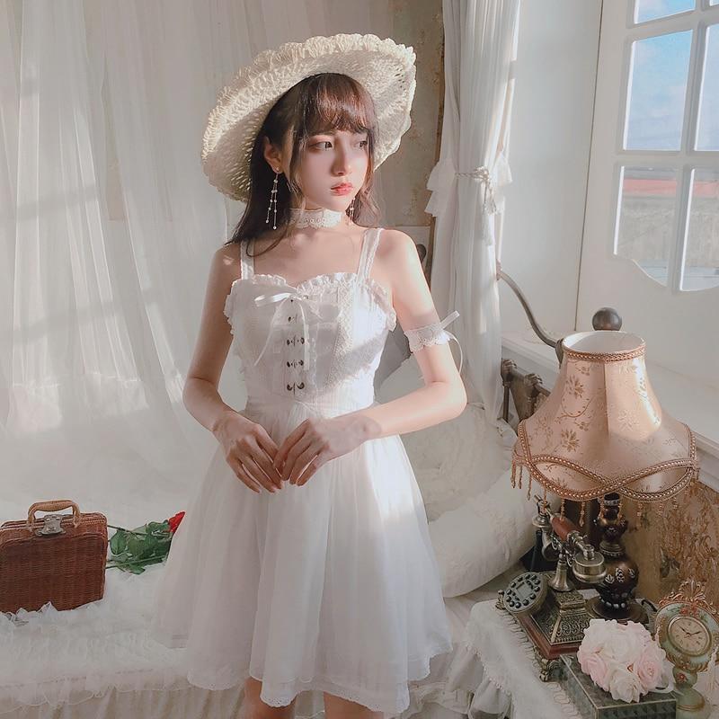Dentelle Tie Princesse Mode Robes Bow Sweet rose D1631 Robe Beige Femmes Et Elfes Manches Pur Sling Doux Ballet Couleur Lolita D'été WPB8w6Pa4q