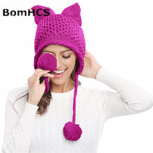 BomHCS Funny Cat Ears Knit Women Girls Hat Autumn Winter Thick Warm Handmade Knitted Beanie Hat men s winter thick warm cable knit beanie hat 100% handmade cap