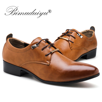 BIMUDUIYU Men Dress Office  Shoes Fashion Pointed Toe Men's Business Casual Shoes Brown Black Leather Oxford Formal Shoes luxury brand designer genuine leather mens wholecut oxford shoes for men black brown dress shoes business office formal shoes