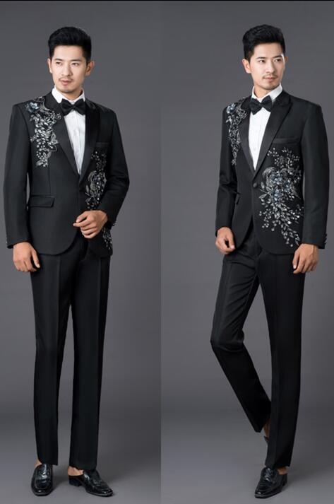 14f18db7ba09 Chorus mariage groom wedding suits for men sequins blazer boys prom ...
