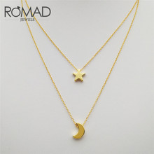 ROMAD Fashion Jewelry Gold Color Moon Star Pendant Necklaces Crescent Pendant Long Necklaces for Women 2 Pcs/Set Wholesales