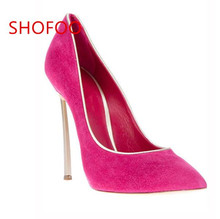 shofoo shoes.2016 new free shipping, elegant suede shoes, pointed toe pumps, high heel shoes women. SIZE:34-45