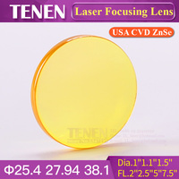 Dia.25.4 27.94 38.1mm FL50.8 63.5 76.2 101.6 127 190.5mm USA CVD ZnSe CO2 Laser Focus Lens For Co2 Laser Mixed Cutting Machine