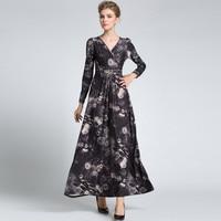 Women S Vintage Floral Long Sleeved High Quality New Fashion 2016 Designer Runway Maxi Dress Celebrity