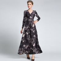 Women S Vintage Floral Long Sleeved High Quality New Fashion 2016 Designer Runway Maxi Dress Celebrity