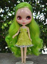 Nude Blyth doll, część boczna linia włosów, zielone długie włosy, D2