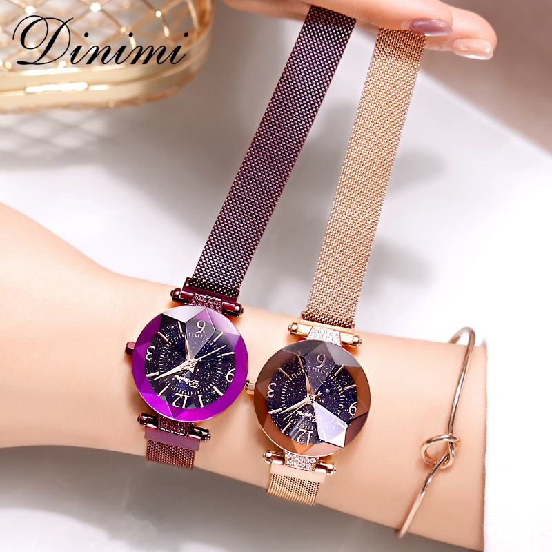 Dimini Women Watches Magnetic Strap Lady Watch Mesh Belt Starry Dial Dress Watch Luxury Quartz Wrist Watches Gifts Dropshipping women lady dress watch retro digital dial leather band quartz analog wrist watch watches for dropshipping