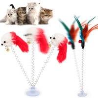 Brinquedo interativo de pelúcia para gatos  brinquedo de pelúcia engraçado com ventosa  elástico  primavera  gato