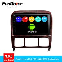 Funrover 2 din android 9.0 car dvd multimedia player For Mercedes Benz S Class S280 S320 S350 S400 S500 W220 W215 radio DSP 2.5D