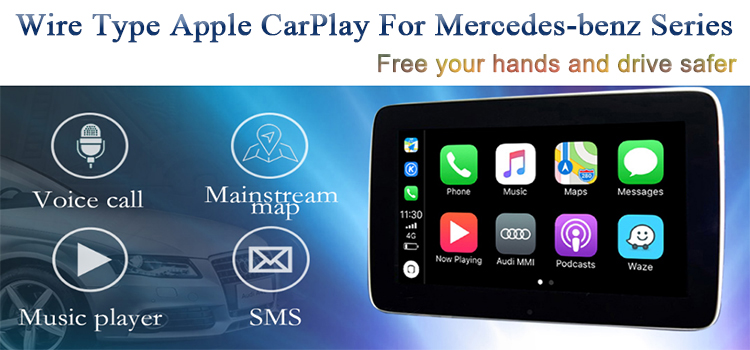 New Car Wire Type Apple CarPlay Video Interface for Mercedes-benz A B C GLC  CLA GLA GLS Class Support Waze Map Phone Call