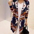 2016 весной и осенью новый большой размер женщин V-образным Вырезом вязаный кардиган свитер пальто женщина длинный свитер толстый платок LH106