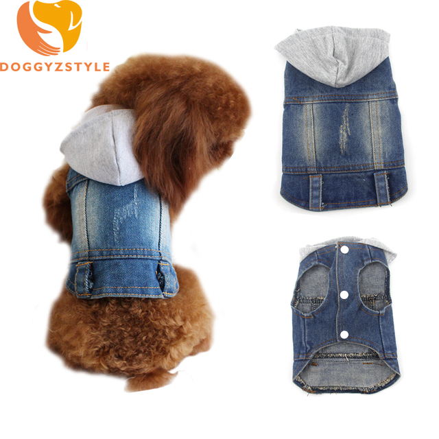 Us 5 35 6 Off Jean Dog Hoodies Vest Summer Pet Clothes Puppies Cat Denim Personalized Jacket Teddy Chihuahua Casual Apparel Doggyzstyle In Dog