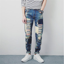 Men's fashion patchwork hole ripped jeans Casual slim fit denim beggar pants Long trousers