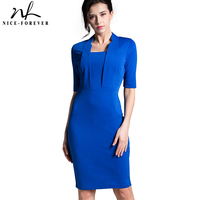 Nice Forever Women Classic Solid Color Half Sleeve Wear To Work Vestidos Office Bodycon Business Sheath