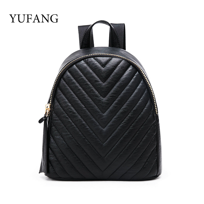YUFANG Black Women Mini Backpack For Teenage Girls Fashion Small Backpacks Casual Female PU Leather School Daypack Bag