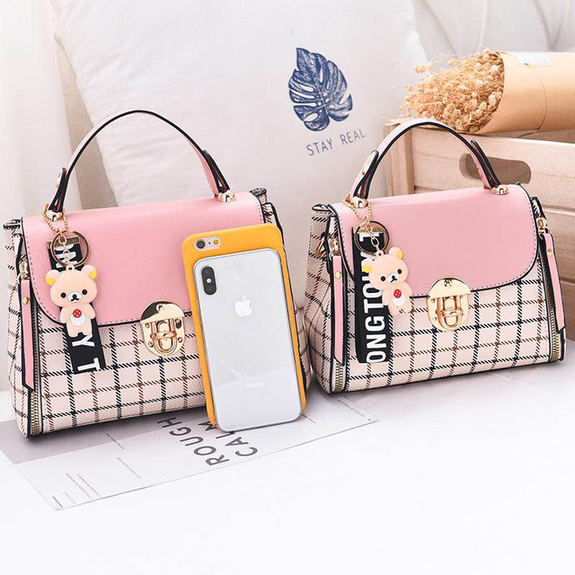 New Cute Type Ladies PU Handbag High Quality 2019 Hot Sale Small Girls Exquisite Color Matching Casual Fashion Small Square Bag 2