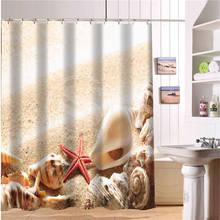 """Nouveau classique rideaux de bain étanche moderne plage coquillages et étoiles de mer rideaux de douche 66 """" x 72 """" pouces salle de bains rideau"""