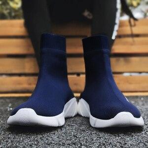 Image 4 - לנשימה גברים נעליים יומיומיות אור סניקרס גברים גרב נעלי זכר גבוה למעלה סניקרס אופנה להחליק על גברים מאמני Chaussure Homme