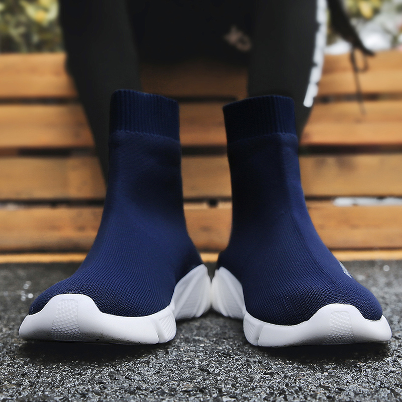 Image 4 - Breathable Men Casual Shoes Light Sneakers Men Sock Shoes Male High Top Sneakers Fashion Slip on Men Trainers Chaussure Homme-in Men's Casual Shoes from Shoes