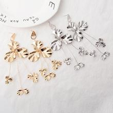 Simple Fashion Gold Color Silver Plated Earrings for women Punk Trefoil Flower Drop Jewelry