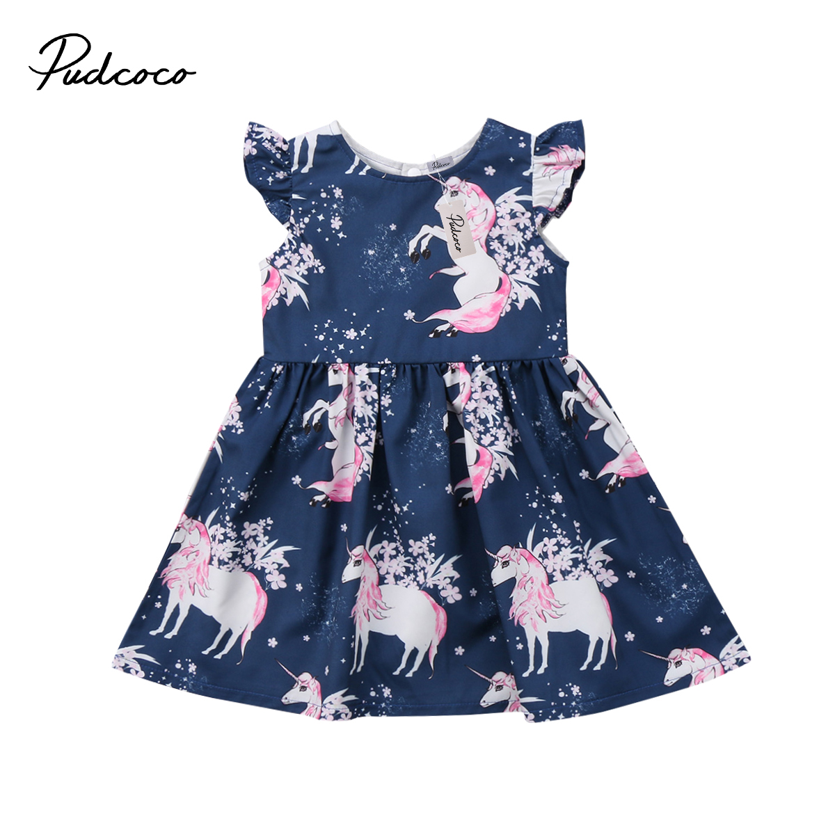 Cute Toddler Baby Girl Floral Animal Unicorn Pattern Sleeveless Dress Summer Cotton A-Line Party Dresses Vestidos cute floral print sleeveless striped a line dress for girl