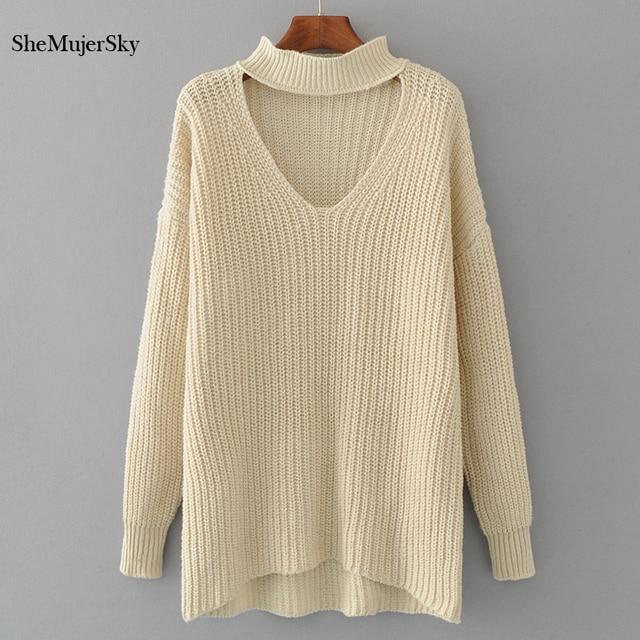 608945cdec SheMujerSky Pullover Women V Neck Choker Sweaters Pulover feminino blusas  de inverno feminina 2017