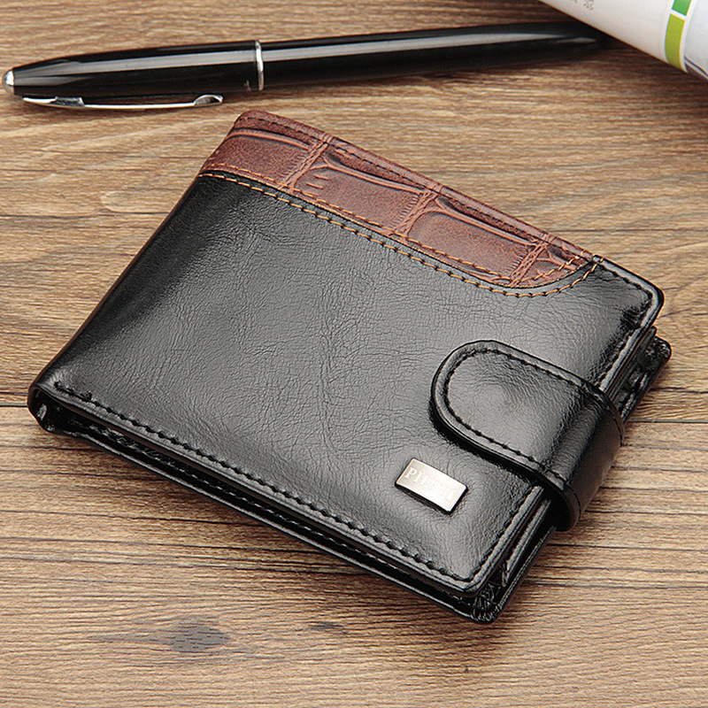 Baellerry Patchwork Leather Men Wallets Short Male Purse With Coin Pocket Card Holder Brand Trifold Wallet Men Clutch Money Bag 1
