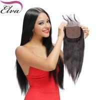 Elva שיער סגירת בסיס משי שיער אדם רמי ברזילאי ישר חלק חינם סגר עם בייבי שיער קשרים Bleahced שחור נשים