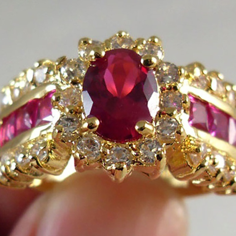 Crystal Zircon Jewelry Ring-Plated Flower-Shape Gold-Color Fashion Luxury Euramerican