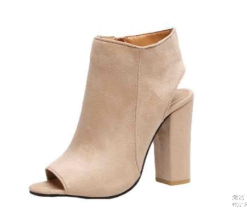 ข้อเท้ารองเท้าหนัง Faux Suede เปิด Peep Toe รองเท้าส้นสูงซิปแฟชั่นสแควร์สีดำรองเท้าผู้หญิงขนาด 34-43