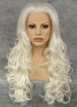 Pure Snow White Wig Tight Curl Synthetic Lace Front Wig Cosplay Wig Party Wig White
