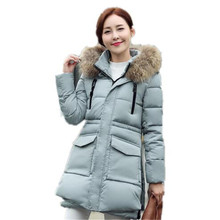 2016 New Winter Large Fur Collar Hooded Wadded Jacket Women Slim Thicken Warm Long Section Down