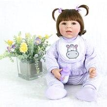 цены на 50cm BeBe Reborn Soft Silicone Reborn Dolls Lovely girl  Baby Realistic Doll Reborn Vinyl Boneca Doll For Girls toy  в интернет-магазинах