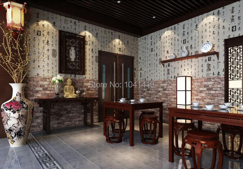 Chinese Style 3D Wall Brick Red Wallpaper Living Room Study Background Wall Decor PVC Waterproof Thicken Stone Wallpaper Roll 3D