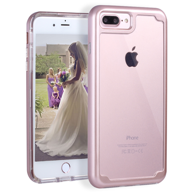 pretty nice db752 b2afe US $6.99 30% OFF|For iPhone 8/8 Plus Shockproof Case Transparent Clear Hard  Back Phone Cases for iPhone 7/7 Plus Soft TPU Hard Case for iPhone 7-in ...