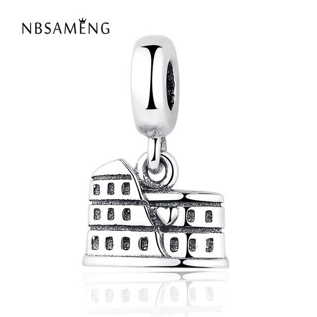 Authentic 100% 925 Sterling Silver Bead Charm Vintage Roman Colosseum Pendant Beads Fit Pandora Bracelet Bangle DIY Fine Jewelry
