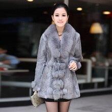 Winter Ladies' Genuine Natural Rabbit Fur Coat Jacket with Fox Fur Collar Women Fur Outerwear Coats Jacket 3XL 4XL VK0046