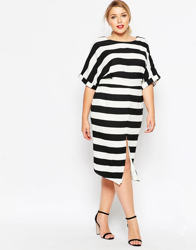 3XL 6XL plus size business dress woman casual loose stripe dress with split  in front sexy hollow out back design 052-in Dresses from Women s Clothing  on ... c3d075d9a0c0