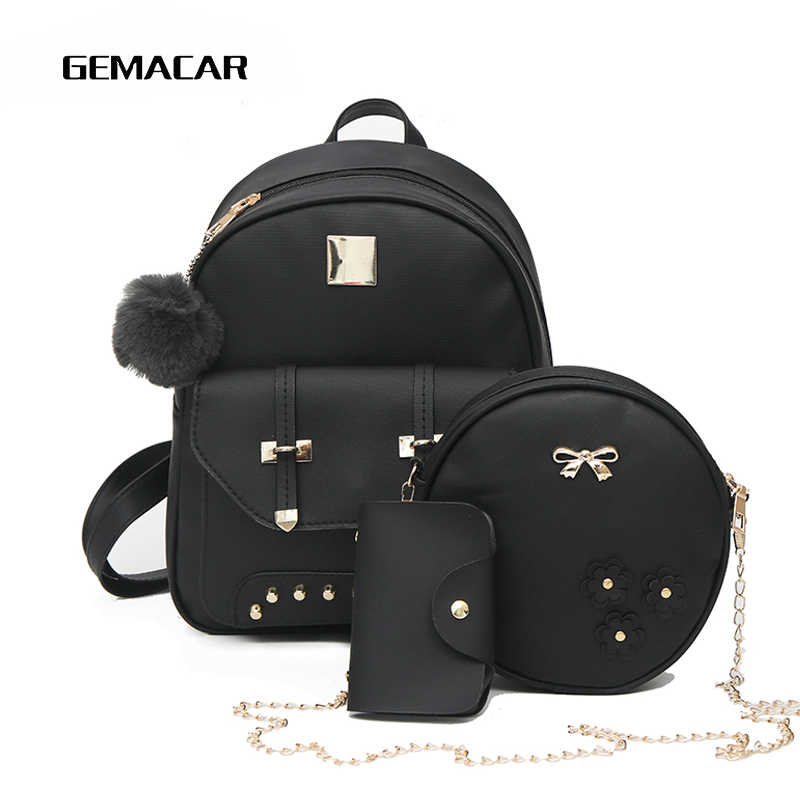 Backpack Daughter Package Fashion Women Bag Pu Leather Waterproof Girl Casual Bag Multi-function Large-capacity Knapsack