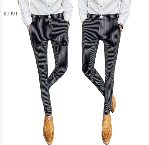 2017 new nightclub tough guy hair stylist pants gentleman Slim stretch feet pants England casual striped trousers tide