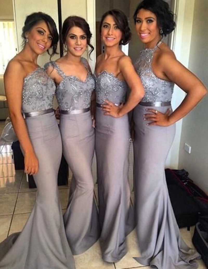 Gray Blue Bridesmaid Dresses