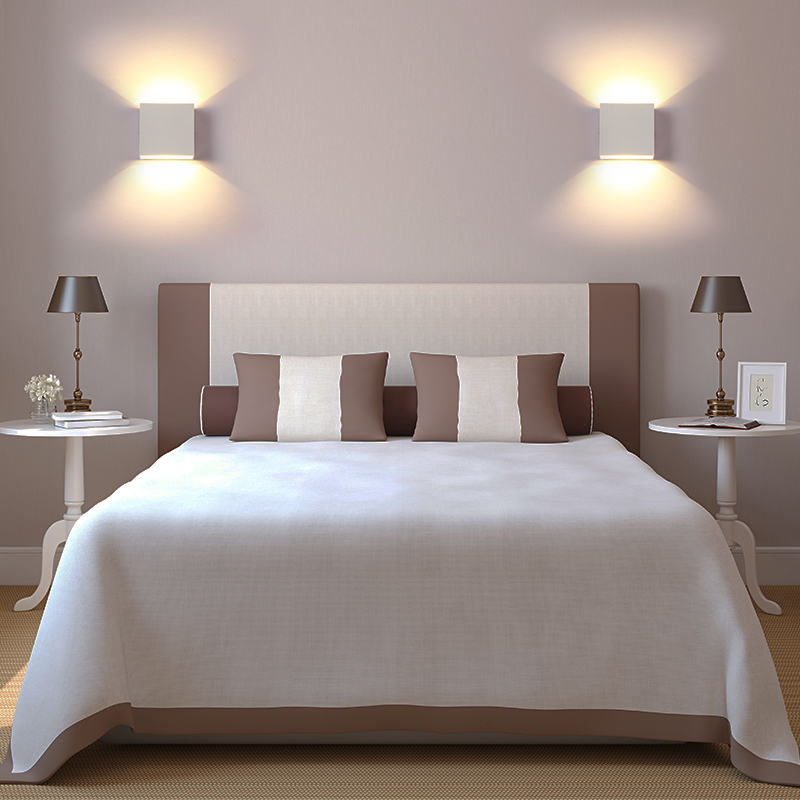 Each Dimmable Square Light Rail in this Bedroom Scene is dimmed down and produces warm yellowish light.