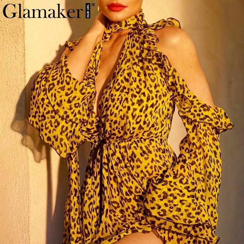 Glamaker Chiffon Leopard Ruffles Sexy Short Jumpsuit Women V Neck Cold Shoulder Playsuit Romper Elegant Party Summer Overalls