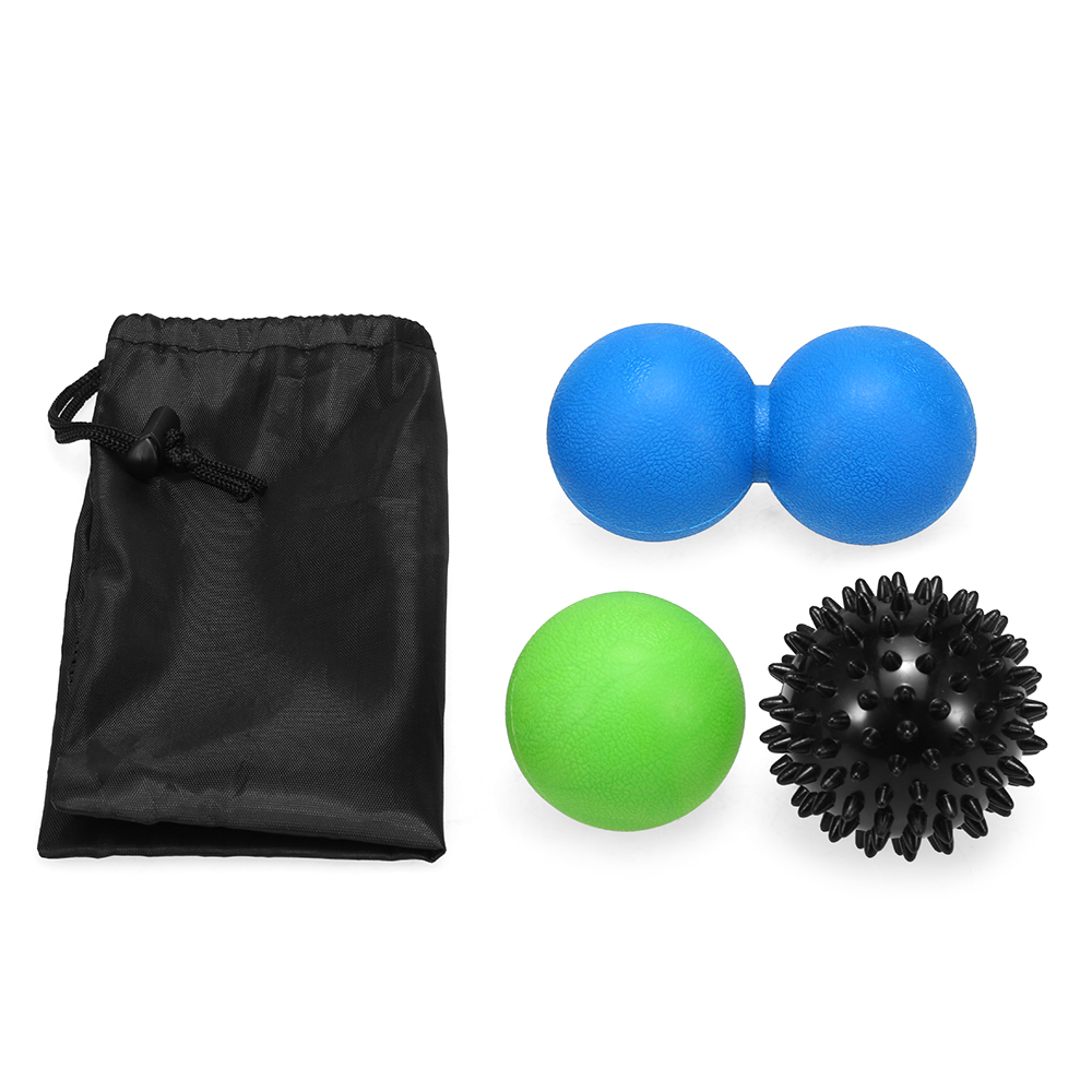 3PCS Fitness Massage Ball Set Sensory Training Spiky Ball Peanut Ball Lacrosse Ball Deep Tissue Therapy for Foot Hands Back(China)
