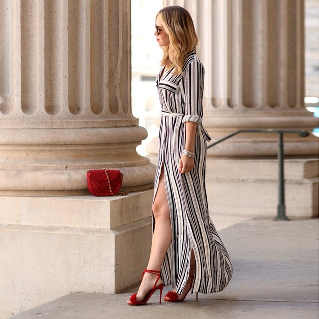 11cdbe8bb95aa3 Fashion Women Black And White Long Maxi Striped Shirt Dress Ladies Sexy  Elegant Design Long Sleeve Evening Party Split Dresses