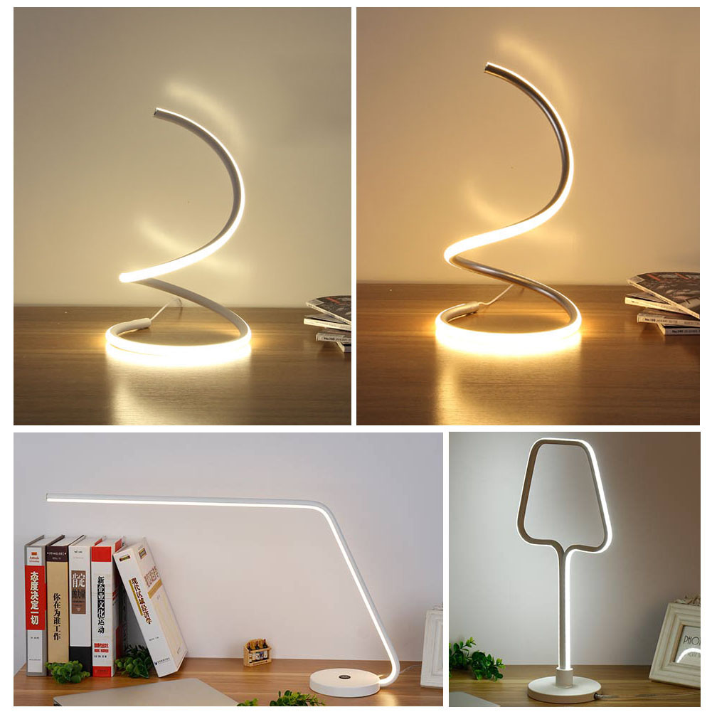 LED Table Lamp 15W Desk Bedside Light Spiral Shape Warm White Light Home Room ALI88