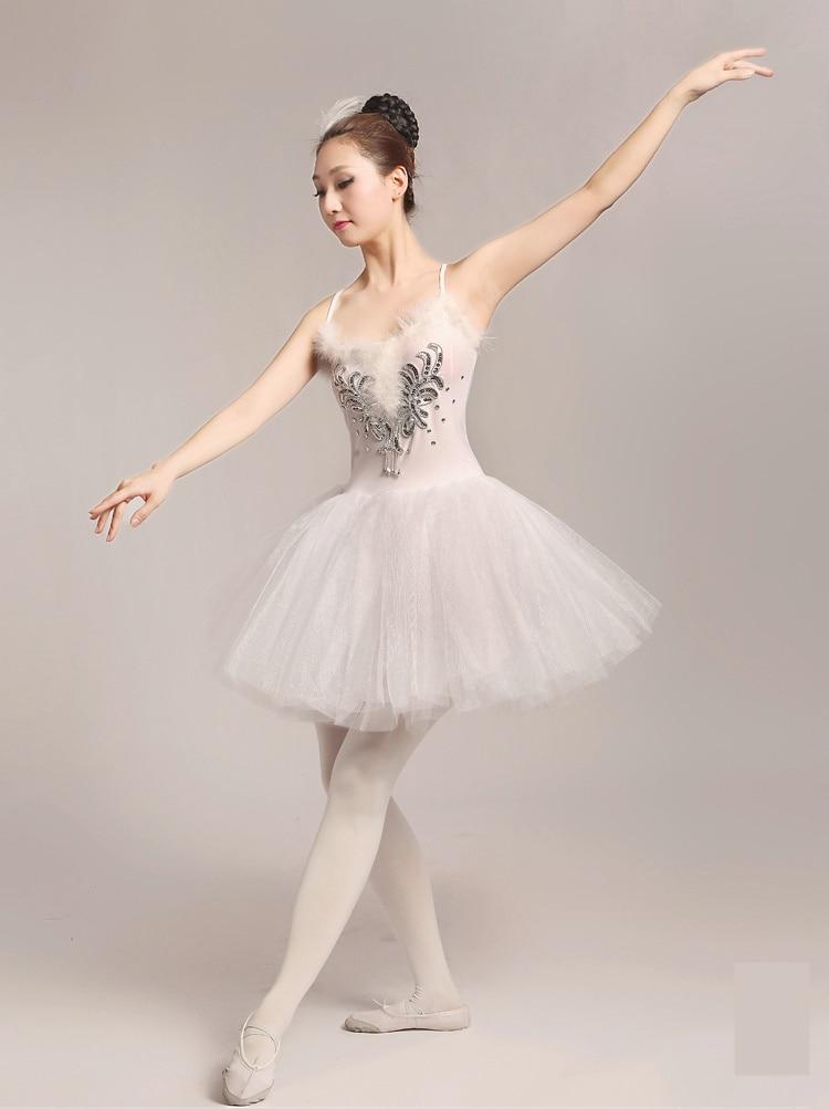 2017 vuxen balett tutu klänning kvinnor vit svan kostym prestanda tulle klänning Ballerina