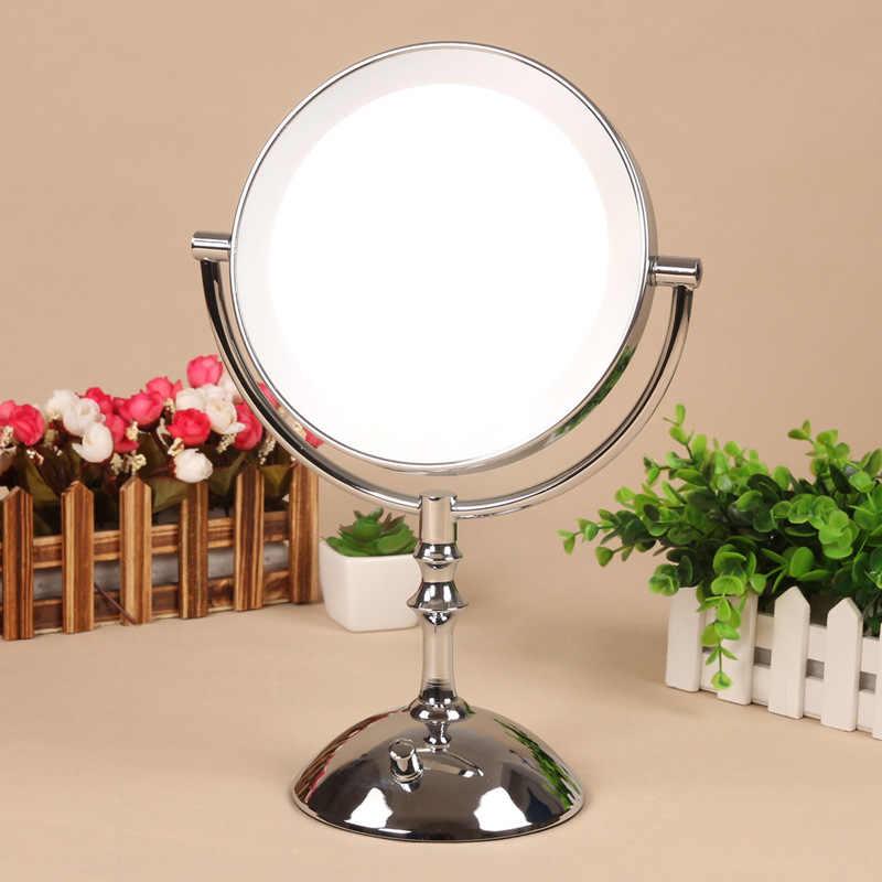 8 Inch Desktop Makeup Mirror 2-Face Metal Mirror 3X  5X 10X Magnifying Cosmetic Mirror LED Lamp Adjust The Brightness