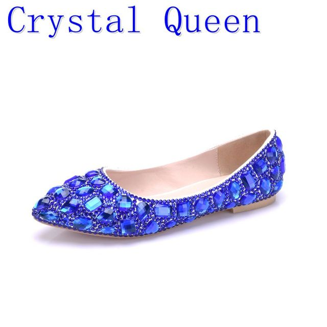 Crystal Queen Rhinestone Crystle Cinderella Shoes Sexy Flat heel Women  Shoes Wedding Shoes Flats big size 34-42 Multicolor 99e11acbce11